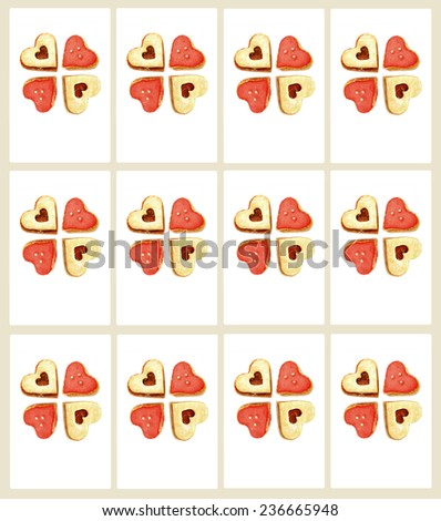 Isolated sweet heart shaped cookies as ready printable gift labels - stock photo