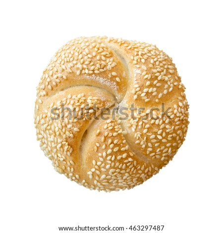 Isolated Sweet Roll Sesame Bun on White for Breakfast or Lunch or Snack Food at a Continental Breakfast Buffet or Gourmet Bakery