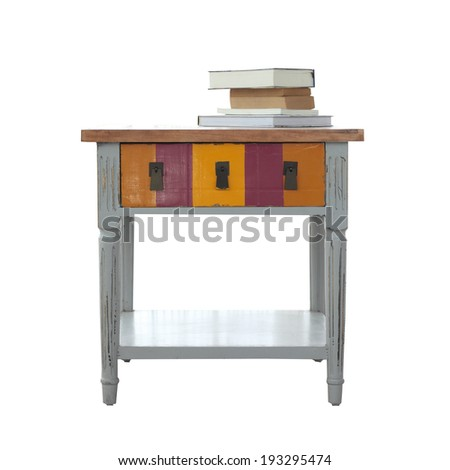 Isolated table and the book overwhite background