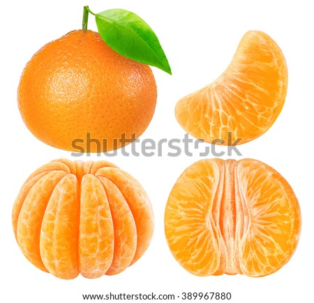 Isolated tangerines or clementines collection. Whole tangerine fruit and peeled segments isolated on white background with clipping path - stock photo