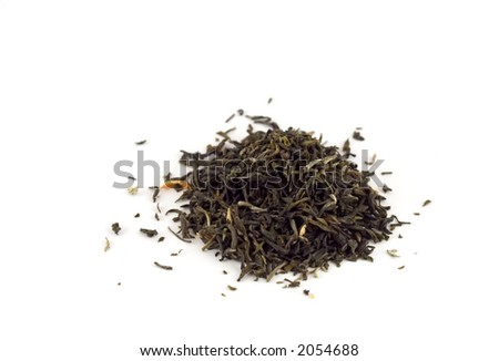 Isolated tea leaves on white background