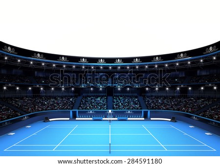 isolated tennis stadium with white empty text space sport theme render illustration background own design - stock photo