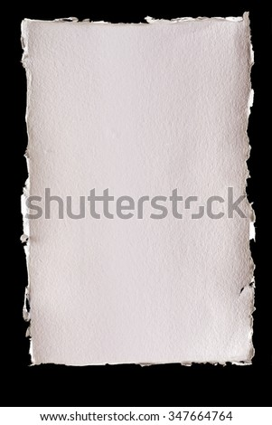 Isolated textured ivory background paper with torn edges - stock photo