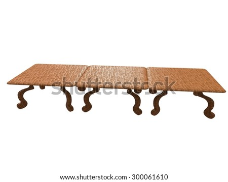 isolated textured table 3d render on white background