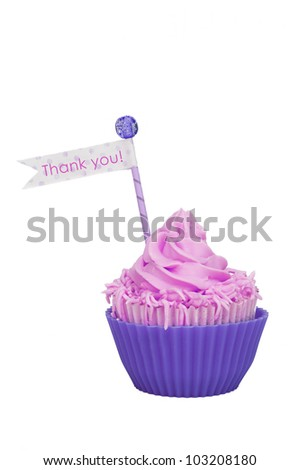 Isolated Thank you cupcake - stock photo