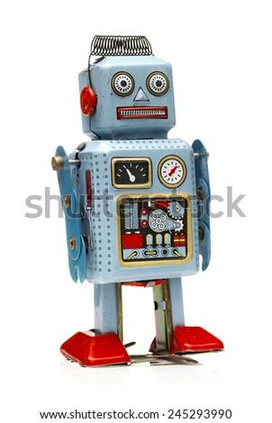 Isolated Tin Robot on a white background - stock photo