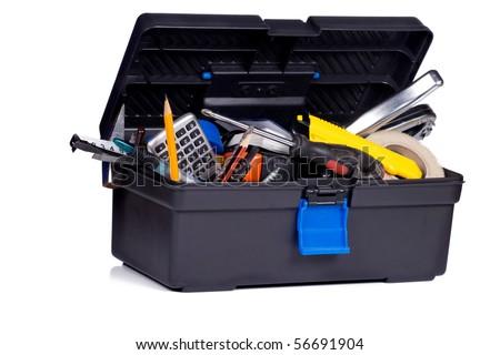 isolated toolbox on white background - stock photo