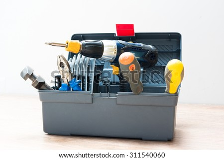 Isolated toolbox with variety of tools