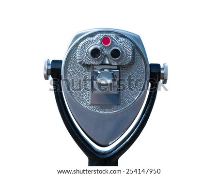 Isolated touristic telescope working with quarter coins - stock photo