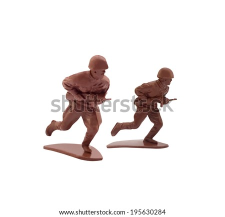 Isolated toy soldiers running. - stock photo