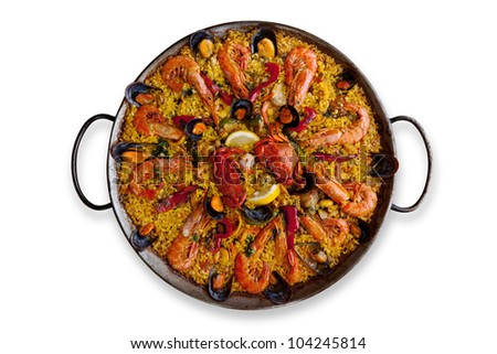 Isolated Traditional Spanish Paella - stock photo