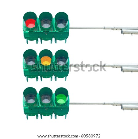 Isolated traffic light. Red, yellow and green light. - stock photo