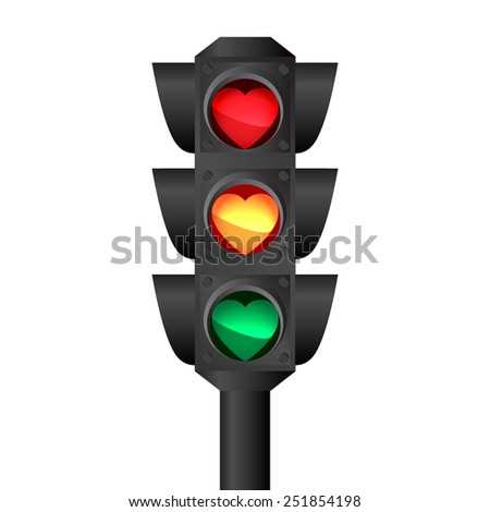 Isolated traffic light with hearts  - stock photo