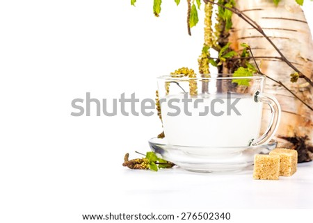 Isolated transparent cup of birch sap on the background of birch twig - stock photo