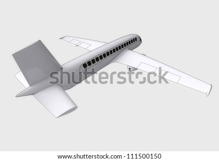 isolated travel airplane flight concept  in perspective back view on white background render illustration - stock photo