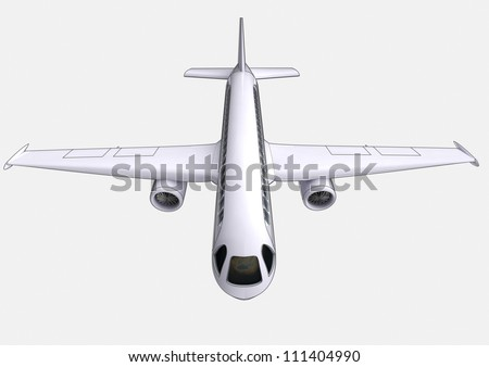 isolated travel airplane flight concept perspective front view on white background render illustration - stock photo