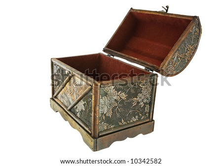 Isolated Treasure Chest, Open - Side View