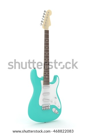 Isolated turquois electric guitar on white background.  Musical instrument for rock, blues, metal songs. 3D rendering.