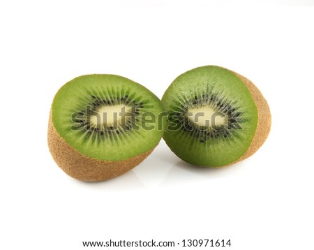 Isolated two halfs of kiwi (white background). Fresh diet fruit. Healthy fruit with vitamins.