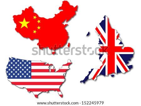 Isolated Us Uk China Flag On Stock Illustration - Uk and us map