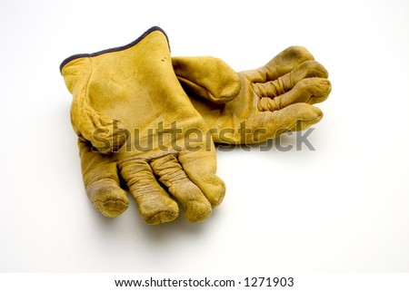 isolated used gloves