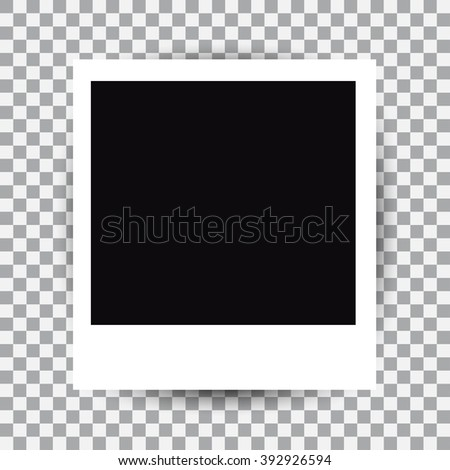 Isolated vector instant photo frame with shadow.