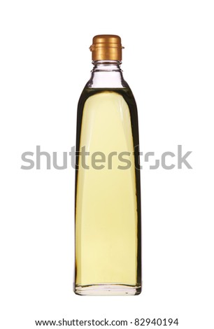 Isolated vegetable oil in the glass bottle - stock photo