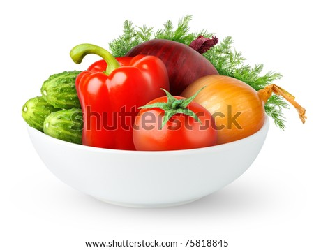 Isolated vegetables. Fresh tomato, bell pepper, cucumbers,onions and dill (salad components) in a bowl isolated on white background