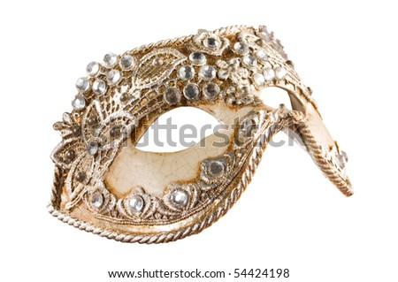 Isolated Venetian Mask with Clipping Path - stock photo