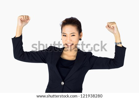 Isolated Very Happy Young  Business Woman