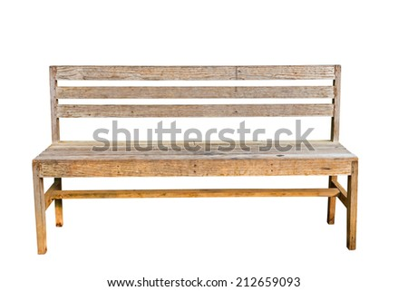 Isolated vintage bench with clipping path