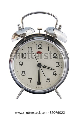 isolated vintage classic alarm clock bell on a white background. Time concept