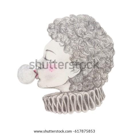 Girl Blowing Bubblegum Drawing