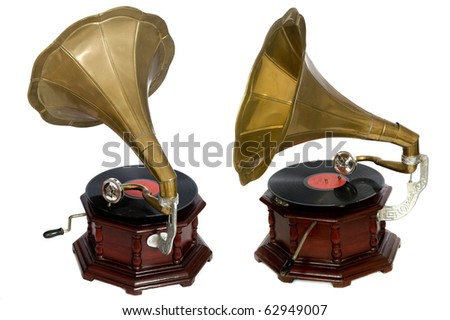 isolated vintage gramophone - stock photo