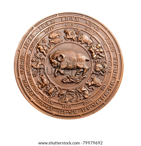 isolated vintage metal relief sign of zodiac - stock photo