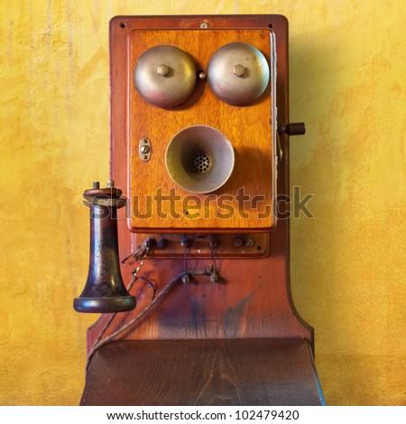 Isolated Vintage Telephone - stock photo