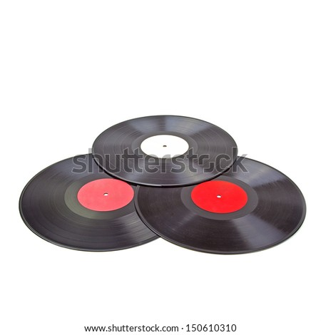 Isolated Vinyl Record Group. High quality stock photo. - stock photo
