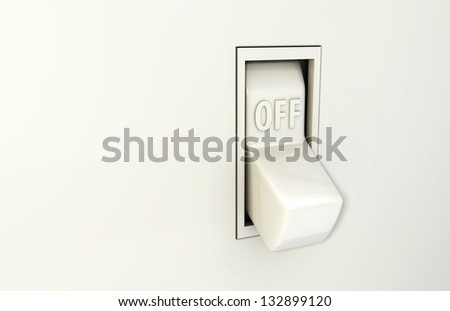 Isolated wall light switch in the Off position - stock photo