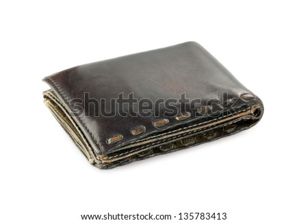 Isolated wallet from natural leather