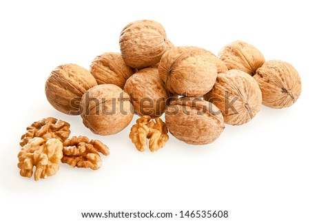 Isolated walnuts on a white background - stock photo