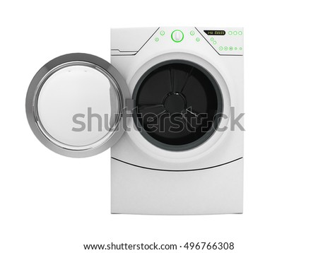 Isolated washing machine with opened door without shadow on white 3d