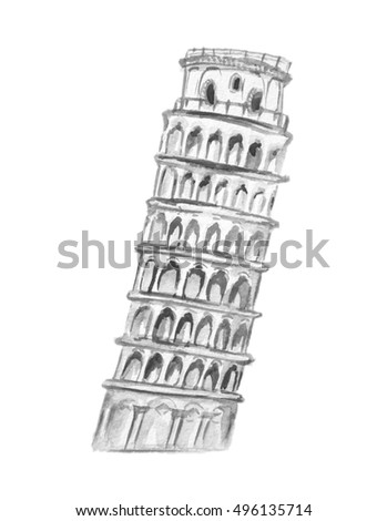 Isolated watercolor pisa tower on white background. Symbol of Italy. Famous historical building.