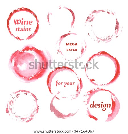 Isolated Watercolor spilled wine stains glass mark. Creative Abstract Aquarelle art handmade paint. Color Drops, blots and Spray for your design.