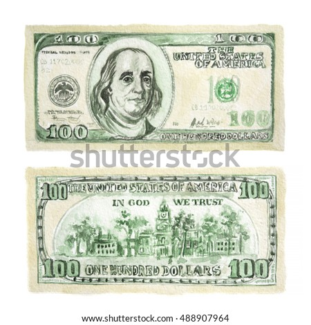 Isolated watercolor two sided dollar on white background. American currency. Symbol of wealth and success.