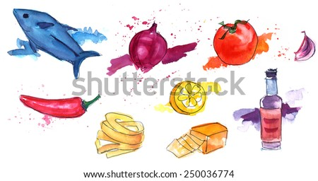 Isolated watercolour drawings of food (tuna fish, onion, tomato, garlic clove, red pepper, lemon, pasta, cheese and sauce bottle) - stock photo