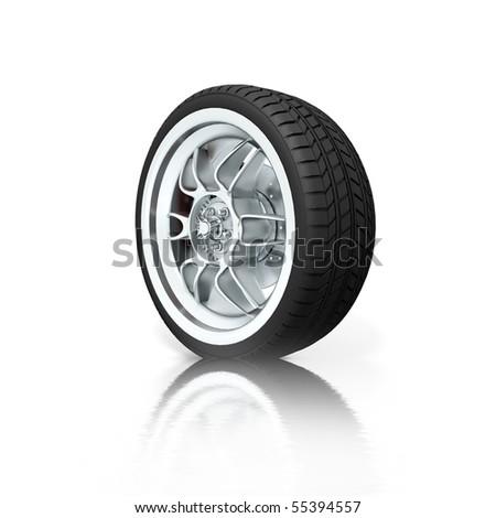 Isolated wheel on white background - stock photo