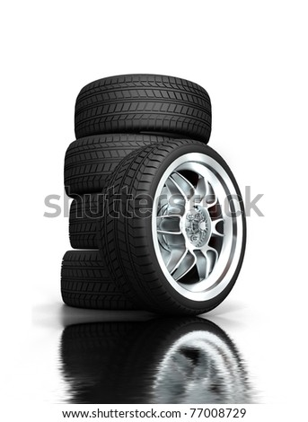 Isolated wheels on white background - stock photo