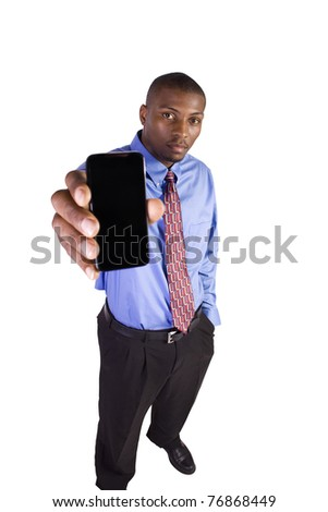 Isolated White Businessman Showing His Cell Phone - stock photo