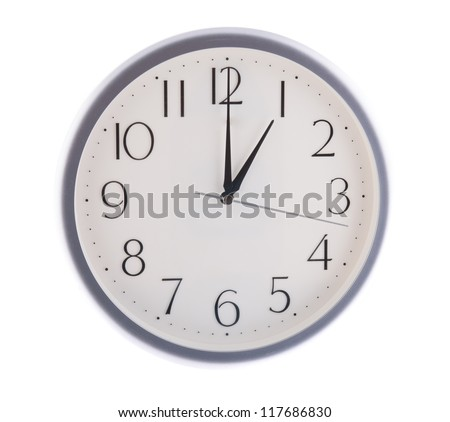 isolated white clock at 1