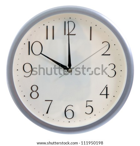isolated white clock at 10pm or 10am - stock photo